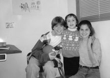 Matt, Mara and Lisa on set of Mrs. Doubtfire